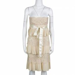 Valentino Beige Pleats and Lace Tiered Strapless Dress S 135844