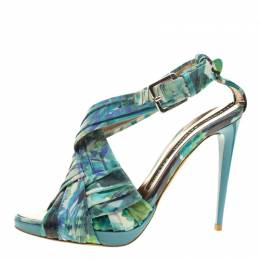 Baldinini Green Floral Print Leather Criss Cross Sandals Size 38 135057