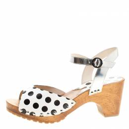 Sophia Webster Monochrome Polka Dot Leather Ava Ankle Strap Sandals Size 41 136733
