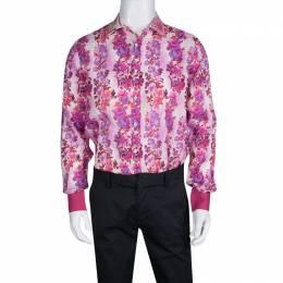 Etro Multicolor Floral Printed Linen Long Sleeve Button Front Shirt L 134391