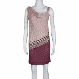 Missoni Multicolor Patterned Knit Draped Sleeveless Dress M 133557
