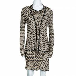 Missoni Beige and Black Perforated Knit Tunic and Cardigan Set M 133531