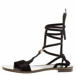 Salvatore Ferragamo Black Suede Gladiator Sandals Size 39.5