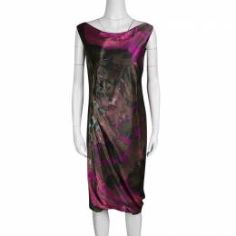 Alberta Ferretti Multicolor Printed Draped Sleeveless Dress M
