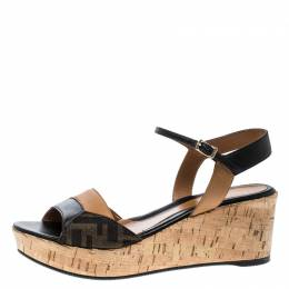 Fendi Brown/Black Zucca Canvas and Leather Wedge Sandals Size 38