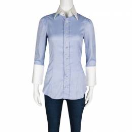 Dsquared2 Blue Cotton Contrast Collar and Cuff Detail Long Sleeve Shirt S 131531