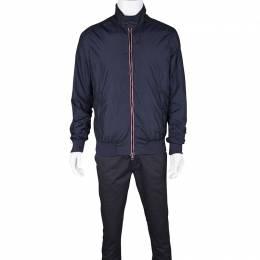 Moncler Navy Blue Contrast Trim Zip Front Darlan Windbreaker Jacket XL 234991