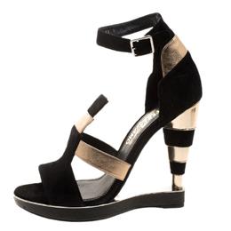 Salvatore Ferragamo Black/Gold Suede/Leather and Python Lexus Platform Sandals Size 39 132159