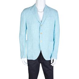 Armani Collezioni Blue Pinstriped Linen Blazer L 127834