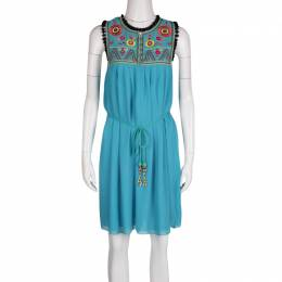 Matthew Williamson Escape Blue Floral Embroidered Silk Pom Pom Trim Sleeveless Dress M 131395