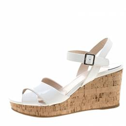 Prada White Patent Leather Criss Cross Ankle Strap Cork Wedge Sandals Size 36