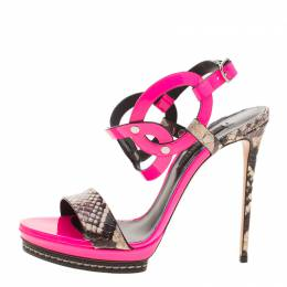 Casadei Fuschia Pink Patent and Embossed Roccia Leather Platform Ankle Strap Sandals Size 38 129849