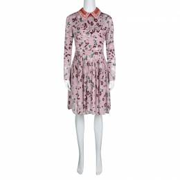 Valentino Pink Floral Print Contrast Applique Collar Pintuck Detail Dress S 130667