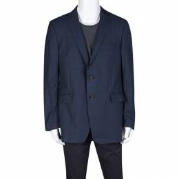 Etro Navy Blue Wool Blend Two Button Blazer XL 131107
