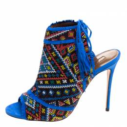Aquazzura Multicolor Embroidered Fabric and Suede Colorado Peep Toe Sandals Size 38.5 121417