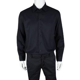 Armani Collezioni Navy Blue Herringbone Pattern Long Sleeve Shirt XL