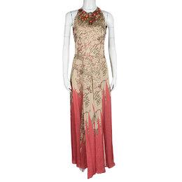 Matthew Williamson Floral Print Silk Embellished Neck Sleeveless Maxi Dress M 120086