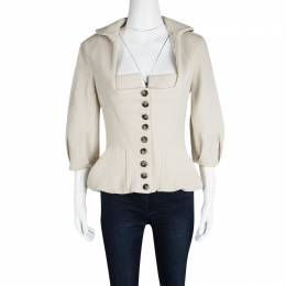 Roland Mouret Beige Wool Square Neck Detail Jacket L