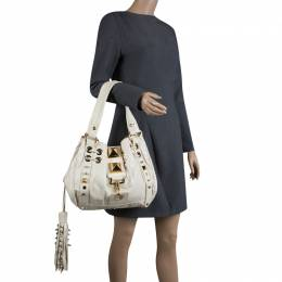 Mulberry for Giles White Leather Studded Drawstring Bag 123664
