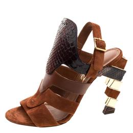 Salvatore Ferragamo Tricolor Suede and Python Laos Strappy Sandals Size 37.5 121036