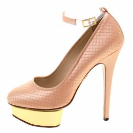 Charlotte Olympia Peach Quilted Satin Dolores Ankle Strap Platform Pumps Size 39 115840