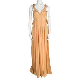 Matthew Williamson Orange Draped Back Detail Silk Maxi Dress M 121357
