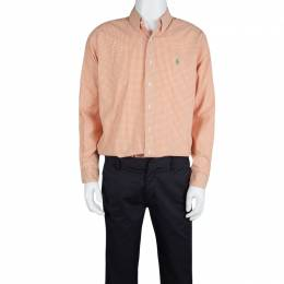 Ralph Lauren Orange and White Checked Cotton Long Sleeve Button Front Shirt L 125590