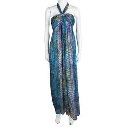 Matthew Williamson Escape Multicolor Printed Halter Neck Dress L 113715