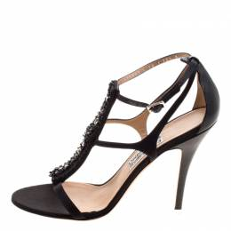 Salvatore Ferragamo Black Embellished Satin and Leather Shine T-Strap Sandals Size 41 120483