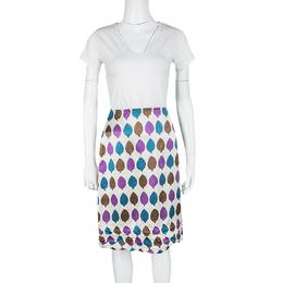 Marni Multicolor Leaf Print Ruched Hem Detail Satin Skirt S 118451