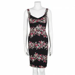 Dolce & Gabbana Black Floral Print Sleeveless Bodycon Dress XS 103412