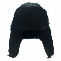 Etro Dark Green Leather and Rabbit Fur Aviator Hat L 111961
