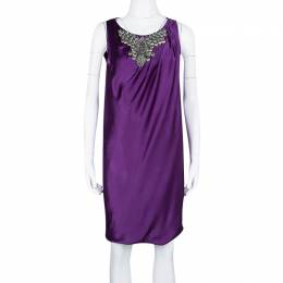 Alberta Ferretti Purple Silk Embellished Sleeveless Dress M