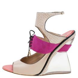 Salvatore Ferragamo Multicolor Leather, Suede and Python Lucite F Wedge Sandals Size 38 106454