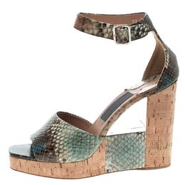 Salvatore Ferragamo Multicolor Snake Embossed Leather Wedge Sandals Size 38 104312