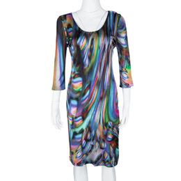 Matthew Williamson Multicolor Printed Knit Long Sleeve Dress M 105298