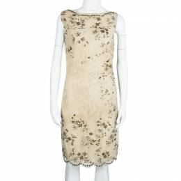 Valentino Beige Embellished Floral Lace Overlay Ruched Sleeveless Dress M 108392