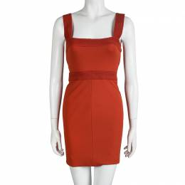 Versace Orange Sleeveless V-Neck Bodycon Dress S 92306