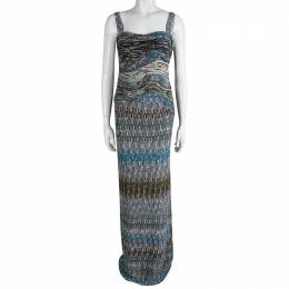 Missoni Multicolor Textured Wool Sleeveless Maxi Dress S 87369