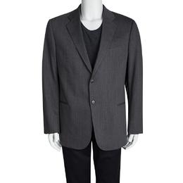 Armani Collezioni Grey Herringbone Wool Regular Fit Blazer XXL 94545