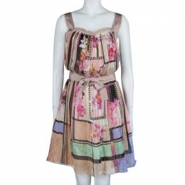 Alberta Ferretti Multicolor Floral Print Pleated Sleeveless Cross Back Dress L