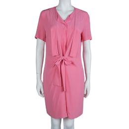 Marni Pink Silk Short Sleeve Waist Tie Detail Dress M 62781