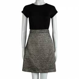 Chanel Black Textured Metallic Skirt L 89591