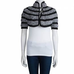 Chanel Black and White Cut Out Detail Bolero Jacket S 79595