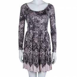 Prada Black and Pink Floral Print Jersey Long Sleeve Dress S 61898