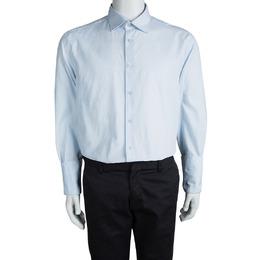 Kenzo Blue Textured Paisley Motif Cotton Comfort Fit Long Sleeve Shirt 4XL 92859
