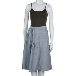 Marni Grey Gathered Cotton Skirt S 57315