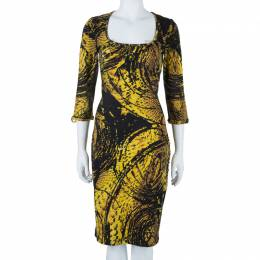 Just Cavalli Honeycomb Print Bodycon Dress L 41202