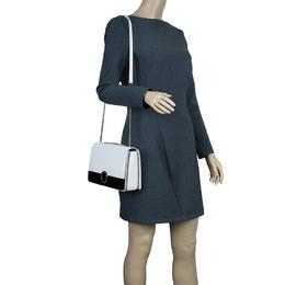 Bvlgari White Agate and Black Leather Medium Flap Cover Bag