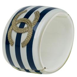 Chanel CC Blue and White Stripe Resin Bangle Bracelet 56984